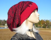 Oversized Big Slouchy Beanie Hat Red & Gray Thick Warm Winter Fair Isle Knit Cotton Extra Long Baggy Dread Tam  A1677