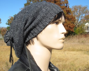 Grunge Clothing Slouchy Beanie Warm Winter Slouchy Hat Wool Charcoal Gray Tweed Slouch Tams Men's Tie Back Hats BOHO Clothing A1842