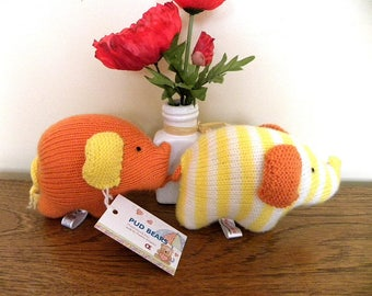 Hand Knitted Elephant - CE Marked Toy -Yellow Striped Jumbo - Knitted Toy for Babies and Children