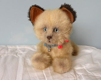 Vintage Siamese Cat - Real Soft Toys Cat - 1970's Toy Kitten - Red Ribbon