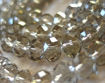 "8mm Taupe Greige Faceted Crystal Rondelle Beads, 8mm x 6mm, 8"" Strand, 35-36 beads"