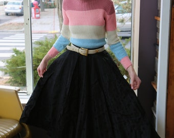 Free Shipping!: Vintage 1950s Black Polka Dot Full Circle Skirt