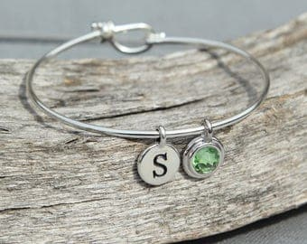 Birthstone Initial Bracelet, Grandma Personalized Bracelet for Mom, Gift for Mom, Mothers Day Gift, Peridot August Birthstone Jewelry