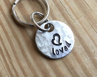 "Pet ID Tag, Collar Charm - ""loved"" with stamped heart"