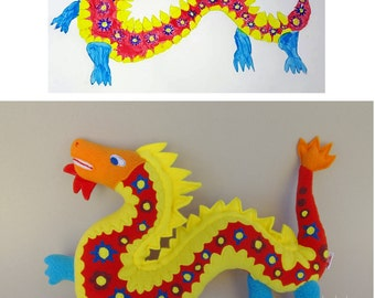 Stuffed animal made from children drawing Plush toy from art - MADE TO ORDER
