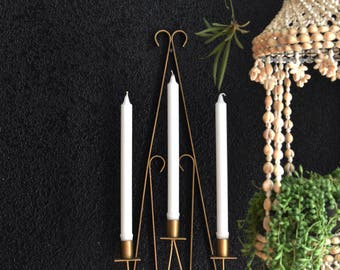 mid century large gold colored metal candelabra sconce / wall hanging