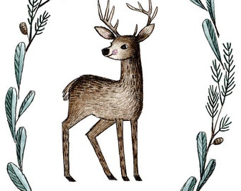 Forest Deer print with mat