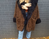 shaggy black and brown dramatic faux fur oversize jacket cocoon coat boho chic 90 grunge osfm cozy winter sweater coat texture hipster cool