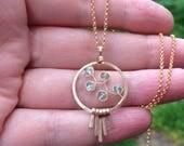 For JENNY ONLY - Moss Aquamarine Necklace, Hammered Circle Pendant, Boho Metal Fringe Pendant Necklace, AAA Gemstones