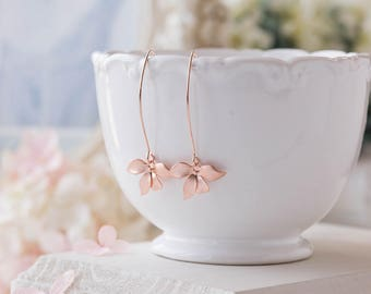 Rose Gold Orchid Flower Long Dangle Earrings. Rose Gold Wedding Bridal Earrings, Bridesmaid Earrings, Maid of Honor Gift, Gift for her