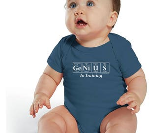 Science-Themed Baby Bodysuit - Periodic Table Inspired GENIUS IN TRAINING Creeper by Periodically Inspired - Gift For Newborn (Slate Blue)