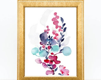Art Print. Floral Watercolor Painting. Watercolor Flower Arrangement. Japanese Art. Ikebana Painting Floral Inspiration. House Warming Gift.