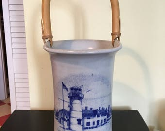 Chatham Pottery Stoneware Vase with Bamboo Handle Chatham Cape Cope Light House Blue Gray Pottery Home Decor