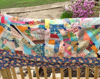 Vintage Twin sized Crazy Quilt