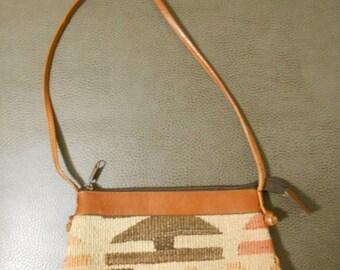 Vintage 1970s SAO Turkish kilim small crossbody handbag