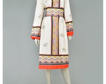 Vintage Bohemian Dress 70s Dress Folk Dress Chevron Border Print Floral Dress Bishop Sleeve Fit Flare Knit Dress 1970s Dress Boho Dress M/L