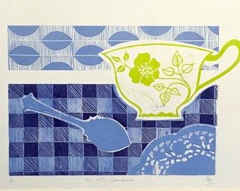 Tea with Grandma - original linocut print, hand-printed, teacup