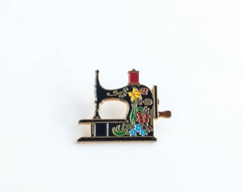Clotilde Enamel Sewing Machine Pin, Collectible Lapel Pin, Vintage 1990s Enamel Pin Anniversary 20 years
