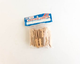 Vintage Craft Supply Mini Clothes Pins Westrim Crafts Wood Blank for Painting