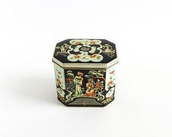 Ornate Vintage Asian Floral Tea Tin Black Gold Shabby Cottage Decor Rustic Storage Organization