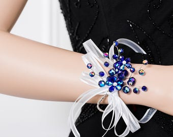 Royal Blue Corsage with Flowers - Iridescent Blue Wrist Corsage - Corsage - Wedding Corsage - Bridesmaid Corsage - Prom Corsage