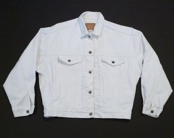 White Jeans Jacket Vintage White Denim Jacket Gap Jean Logo Buttons Slouchy Boxy Oversized 1980s 1990s Medium