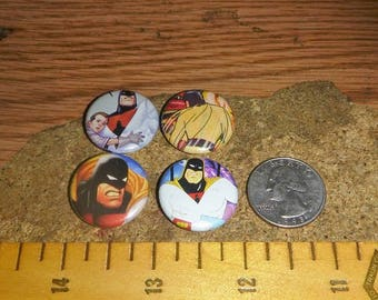 SPACE GHOST 4 one inch pin back buttons badge set