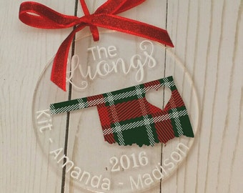 Personalized Ornament - State Ornament, Christmas Gift, Monogrammed Ornament, Lettered Ornament, Family Name Ornament