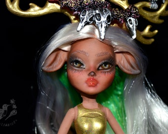 ON SALE custom monster high doll repaint ooak frightmare centaur deer fantasy antlers - Fawtine Fallowhart