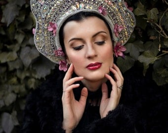 Opulent Beaded Crystal 'Dawn of Spring' Kokoshnik Couture Iridescent Headdress