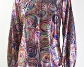 Original 1970s Vintage Psychedelic Shimmer Shirt UK Size 10