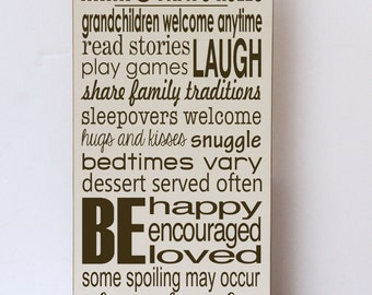Mimi and Papa Rules, Wood Sign, Gifts for Grandparents, Mimi and Papa Sign, Mimi and Papa Gift, Grandparent Rules, Rules of Mimi and Papa