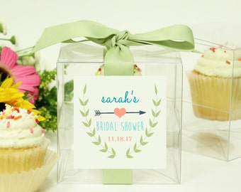 8 - Bridal Shower Favor Boxes / Cupcake Boxes - Ivy Label - ANY COLOR - wedding favors, bridal shower cupcake box, personalized favor box