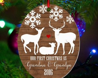 Personalized First Christmas as Grandma & Grandpa Ornament, Keepsake Ornament, Grandparents 1st Christmas, Faux Wood, Christmas Gift (029)