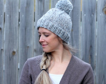 Belle Beanie Woman's Knitted Hat with Pom Pom in Marble Grey- Other colors available