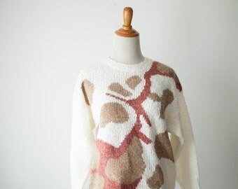 Paint Drop Abstract Sweater // Vintage Womens Clothing // Vintage Mens Womens Clothing