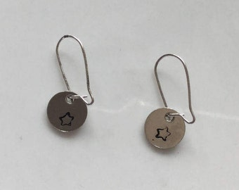 Tiny hand stamped star earrings