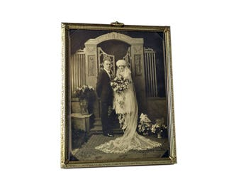Antique 1930's Wedding Photo, Vintage Wedding Couple Photograph Framed