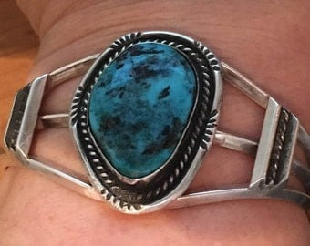 TURQUOISE STERLING SILVER Large Stormy Mountain Blue 39.8 grams Cuff Bracelet
