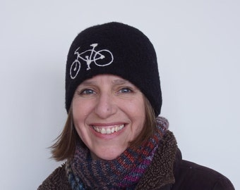 Unisex Black Toque with bicycle motif - warm felted wool winter hat bike beanie cycling