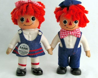 Vintage 1970s Raggedy Ann and Andy Banks