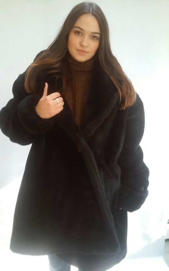 90s Faux Fur Coat, Club Kid, medium