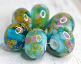 lamp work beads... SRA handmade, aladdin aqua lampwork beads, bright colors, beads set of (6) for making jewelry 110816-6