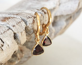 Gold Garnet Trillion Cut Bezel Earrings