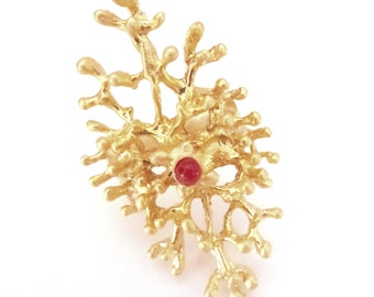 red coral ring on gold plated brass- sealife love jewelry- Valentine's gift