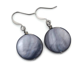 Steel Blue Mother of Pearl Rounds . Earrings