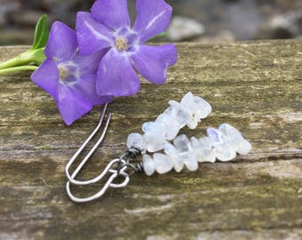 Rainbow Moonstone Gemstone Stack . Earrings