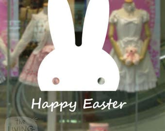 Happy Easter With Bunny, Decorative Glass Shop Kids Window Display, Removable Sticker Australian Made