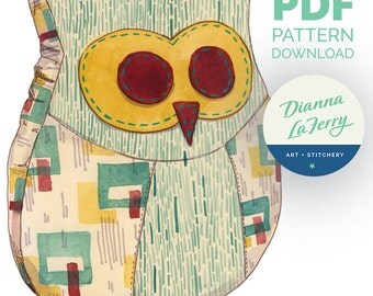 PDF Sofa Owl Pillow sewing pattern. Make with home decor or mid-weight fabric, fun prints, or embellish. For decor, gifting, baby, kids, DIY
