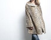 90s vintage VELVET SLOUCHY leopard print coat jacket PUNK chelsea oversize coat winter women's vintage late 90s